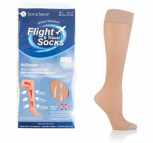 Sockshop Womens 40 Den Travel Flight Socks with Compression Factor 14-18