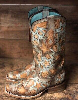 Corral Women/'s Honey Dream Catcher Embroidered Square Toe Western Boots E1284