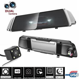 10'' Dual Lens HD Car DVR Recorder Rear View Mirror Camera Dash Cam Night Vision