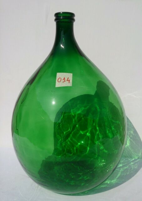 Antique Italian giant Demijohn emerald Glass - Wine Making - Huge carboy