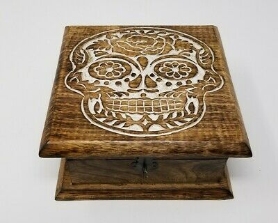 Skull Day Of The Dead Wooden Carved Box 4 X 6 Hand Carved Brand