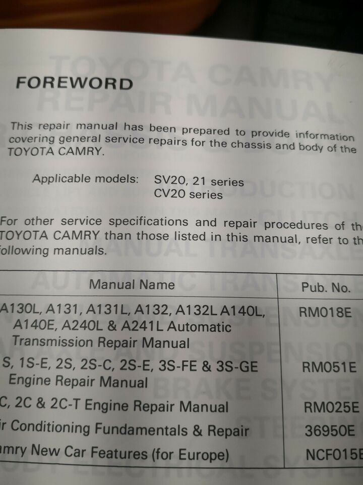 (60)Reparationsbøger, Toyota Camry