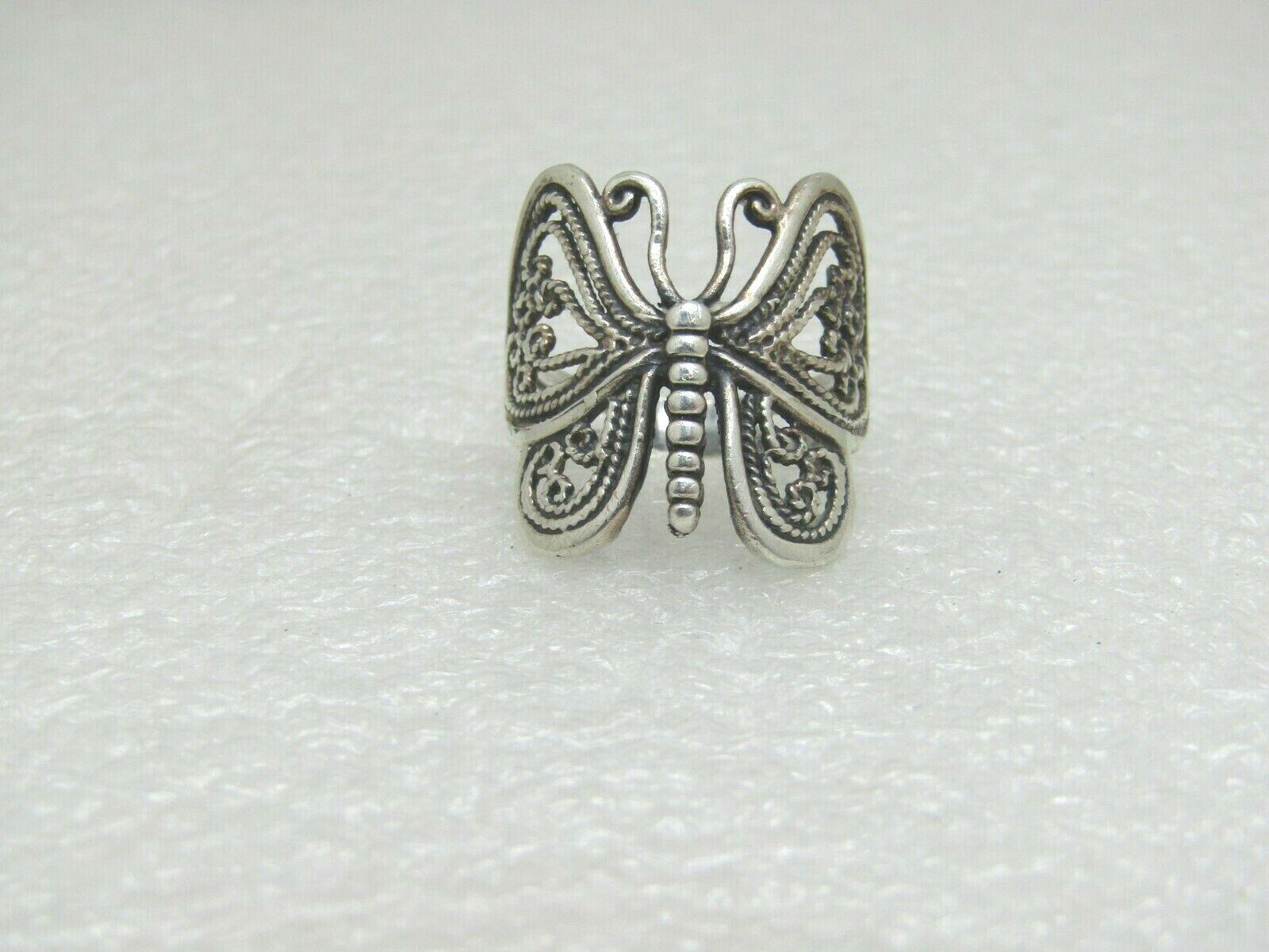 Vintage Sterling Filigree Butterfly Ring, Sz. 8, 4.5grams, Large, Hippie Boho