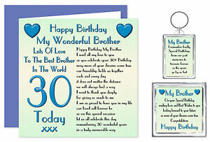 Image Is Loading 30th Brother Happy Birthday Gift Set Card Keyring