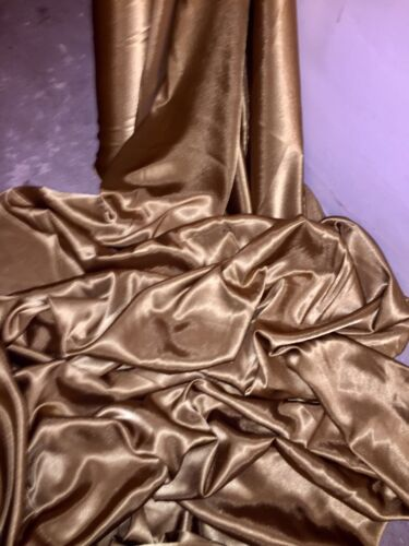 """NEW IN STOCK 3 MTR ANTIQUE GOLD CREPE BACK LINING SATIN FABRIC...58/"""" WIDE"""