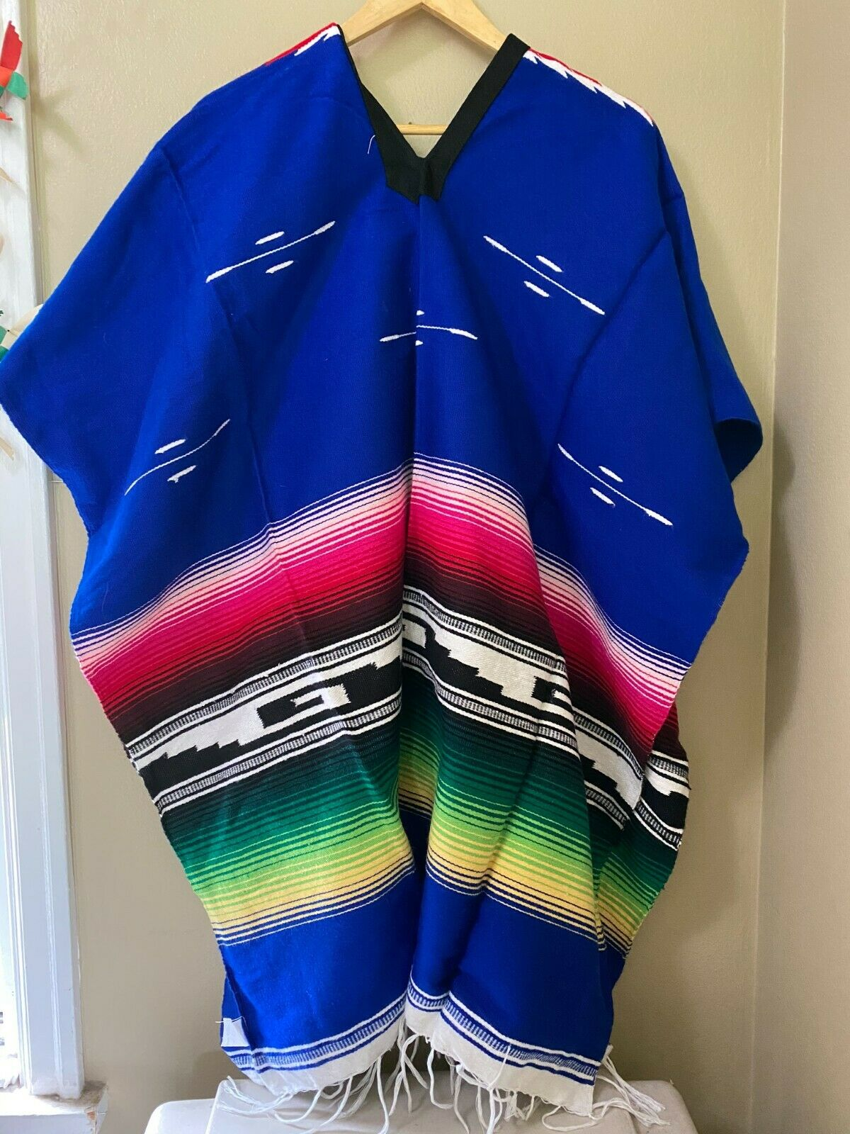 Colorful Mexican Saltillo Acrylic Knit Blanket Poncho Cowboy Costume Adult BLUE