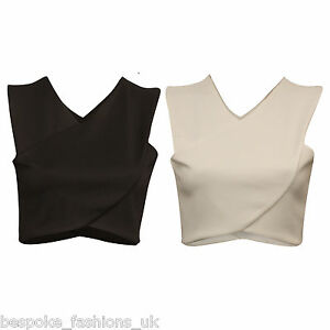 Ladies-Women-Plain-Front-Cross-Over-Detail-Sleeveless-Crop-Tee-Top-Size-8-14