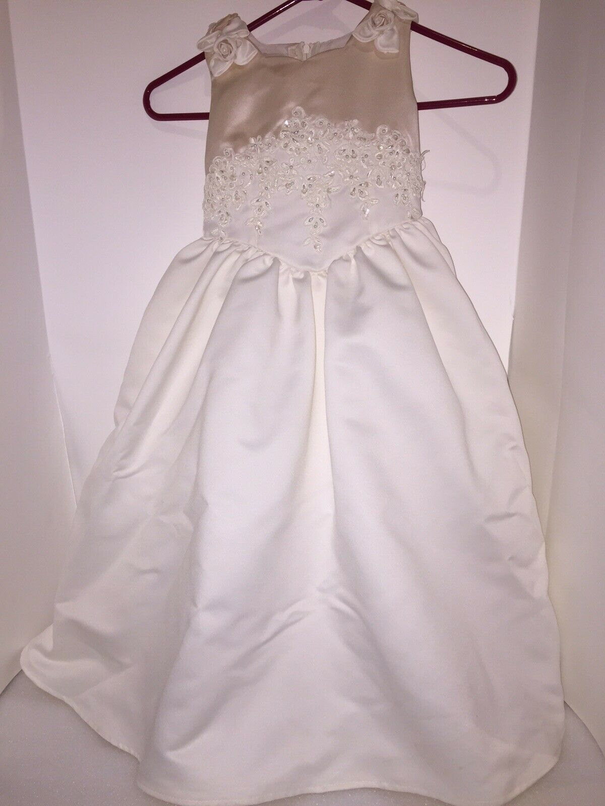 New Flower Girl Dress Size 4 Wedding Bride Bridal Basket Ring Pillow Garter