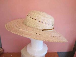 Ladies Wide Brim Panama Style Straw hat with chin strap M - L Mexico ... 2b3de55326a