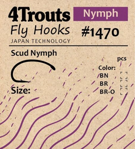 Scud Nymph Fly tying Bend Hooks #14 #16 #12 100 pcs/pack Brand 4Trouts Fly #1470
