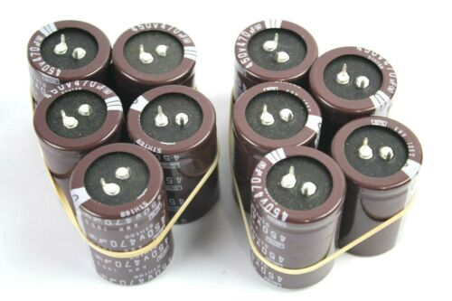 Nippon Chemi-Con 450V 470uF 2 Pole Snap In Electrolytic Capacitors Lot of 10