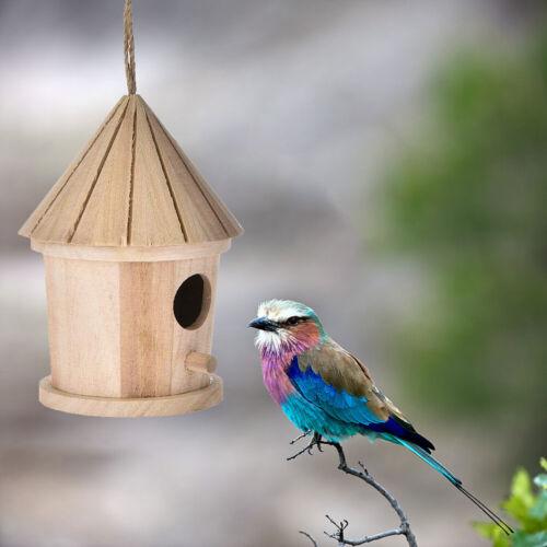 Wooden Bird Nest Hanging Bird House Natural Garden Outdoor Bird Cage Birdhouse