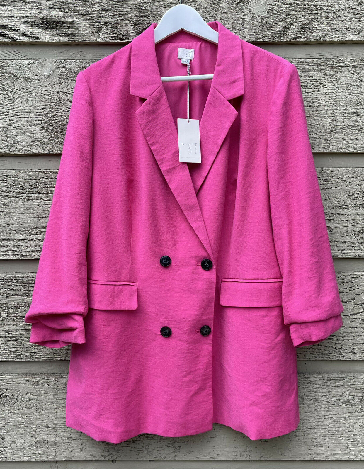 A New Day For Target Womens Double Breasted Blazer Sz XXL Pink Lined Jacket