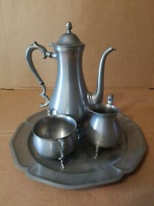 International-Pewter-Coffee-or-Tea-Set-with-Tray