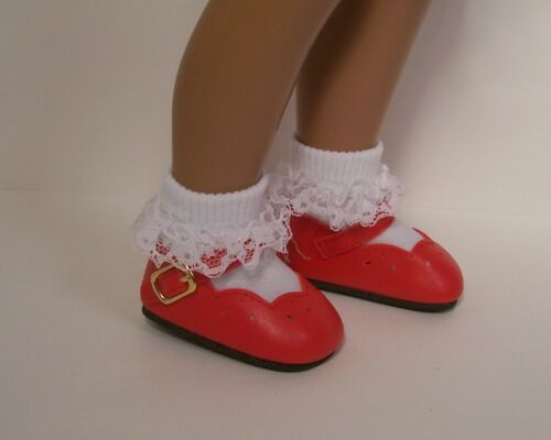 """Debs RED Scallops Doll Shoes Fits 16/"""" 17/"""" Vintage Sasha"""