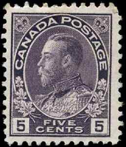 Canada #112 mint VF OG HR 1922 King George V 5c violet Admiral CV$60.00