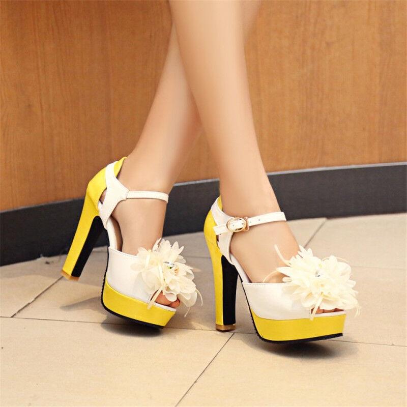 Women's Flower Peep Toe Colorblock High Heels Ankle Buckle Party Platform Shoes