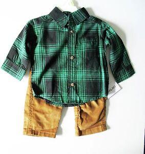 d3ac510deb7 Carter s Baby Boys 2 pc Plaid Long Sleeve Shirt   Corduroy Pants Sz ...