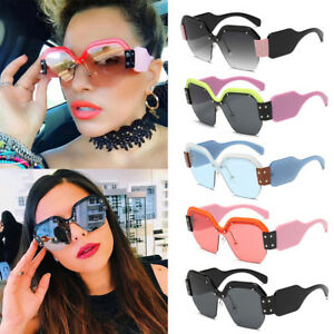 17f65bbd9a5 Image is loading Women-Large-ladies-oversized-sunglasses-half-frame-retro-