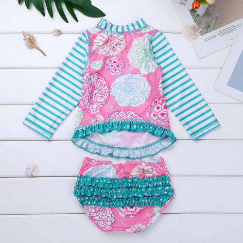 Baby Girls Rash Guard Swimsuit Swimwear Sun Protection Bathing Beach Costume
