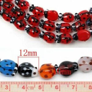 20Pcs-Unique-Ladybug-Glass-Lampwork-Spacers-Bead-DIY-Jewelry-Making-Acceessories