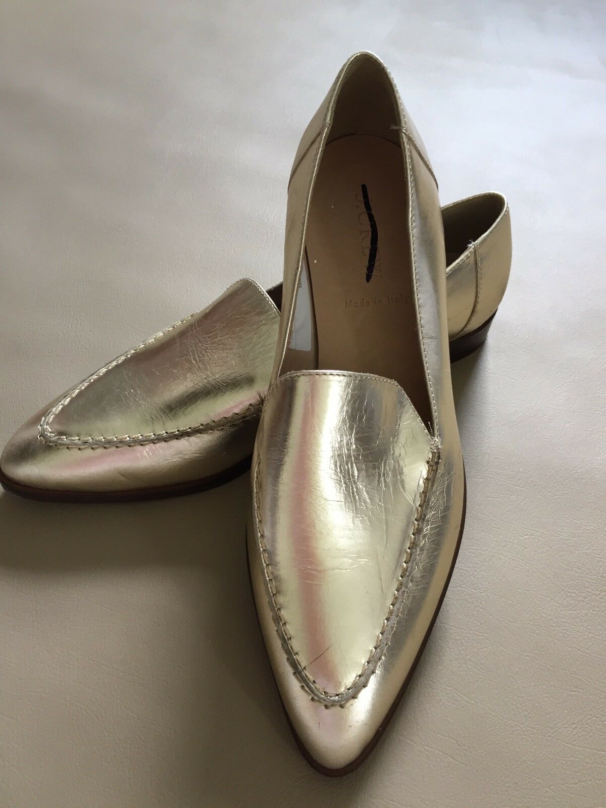 JCrew Metallic Basic Mile Loafer Nappa Leather NEW Size 7 Pale Gold NEW Leather ea3e83