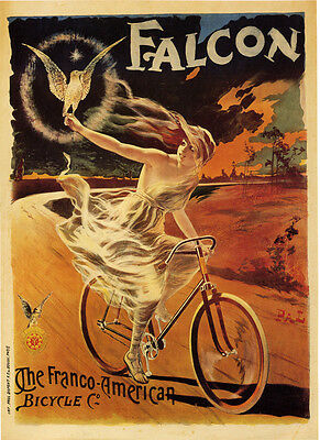 Poster Paper or Canvas Giclee Vintage FALCON THE FRANCO AMERICAN BICYCLE CO