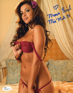ssg) playboy playmate monica leigh signed 8x10 color photo with a