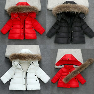 901904322fcf Toddler Kids Baby Girl Boy Winter Warm Fur Hooded Coat Down Jacket ...