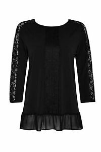 Ex-Wallis-Black-Lace-Blouse-Round-Neck-Long-Sleeve-Peplum-Top