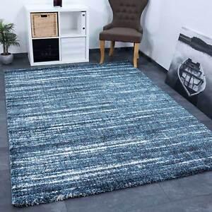 Hochwertiger-Wohnraum-Teppich-Blau-Modern-Dichter-Hoher-Flor-Meliert-Used-Look
