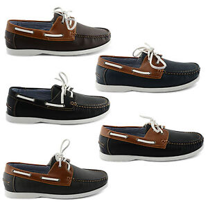 NEW-MENS-FAUX-LEATHER-LACE-UP-DECK-BOAT-CASUAL-SHOES-UK-SIZE-7-8-9-10-11