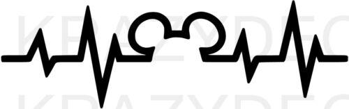 Mickey heartbeat pulse vinyl sticker decal U Choose Color /& Size