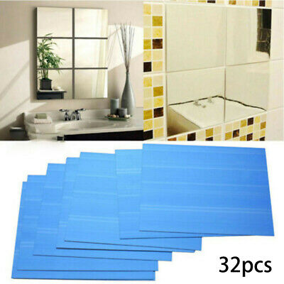 32x Glass Mirror Tiles Wall Sticker, What Adhesive To Use For Mirror Tiles