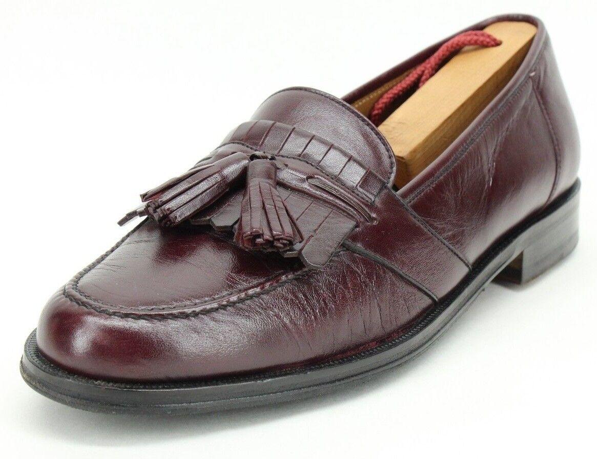 Magnanni Men's Burgundy Leather Kiltie Tassel Slip On Loafers Size US 7.5 M