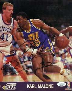Karl-Malone-JSA-Coa-Autograph-Hand-Signed-8x10-1990-HOOPS-Photo