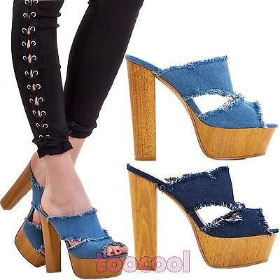 Scarpe Donna Sandali Sabot Clogs Jeans Sfrangiati Tacco Comodo Nuove K2l9328-40 Elegante E Grazioso