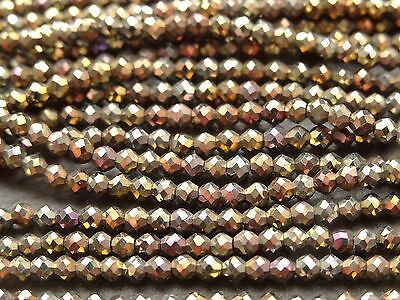 """2.1mm MICRO FACETED COATED BLACK SPINEL - GOLD & BRONZE, 13"""", 170 beads"""