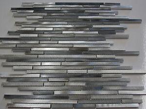 Effektmosaik Mosaik Fliesen Silber Grau Aluminium Metall Matt - Mosaik fliesen grau glänzend