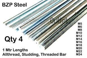 Qty 4  - 1 Meter BZP Steel THREADED ROD Bar Studding Allthread M5 - M24 Dia