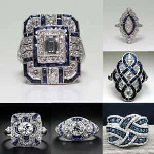 Fashion-White-Topaz-925-Silver-Ring-Women-Jewelry-Wedding-Engagement-Gift-Sz6-10