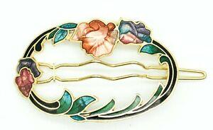 """Vintage CLOISONNÉ ART NOUVEAU FLORAL HAIR CLIP Accessories Barrette Floral 2"""""""
