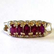 14k yellow gold .06ct SI2 H womens diamond ruby ring 4.5g estate vintage ladies