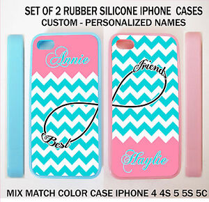 premium selection 129cc 2ac22 Details about PERSONALIZED TEAL BLUE CHEVRON PINK BFF BEST FRIEND CASE For  iPhone X 8 7 6 SE 5