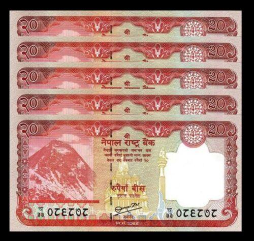 NEPAL 20 RUPEES 2012 UNC 5 PCS LOT P-71