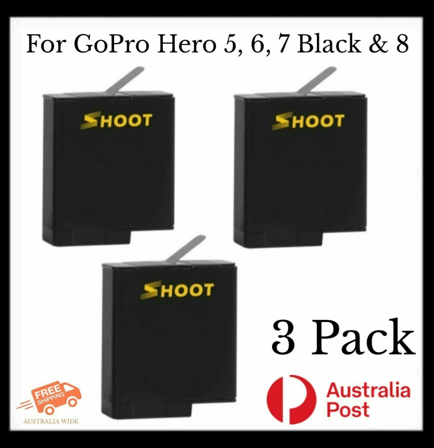 3 Pk SHOOT Rechargeable Batteries for GoPro Hero 5, 6, 7 Black & 8 Action Camera