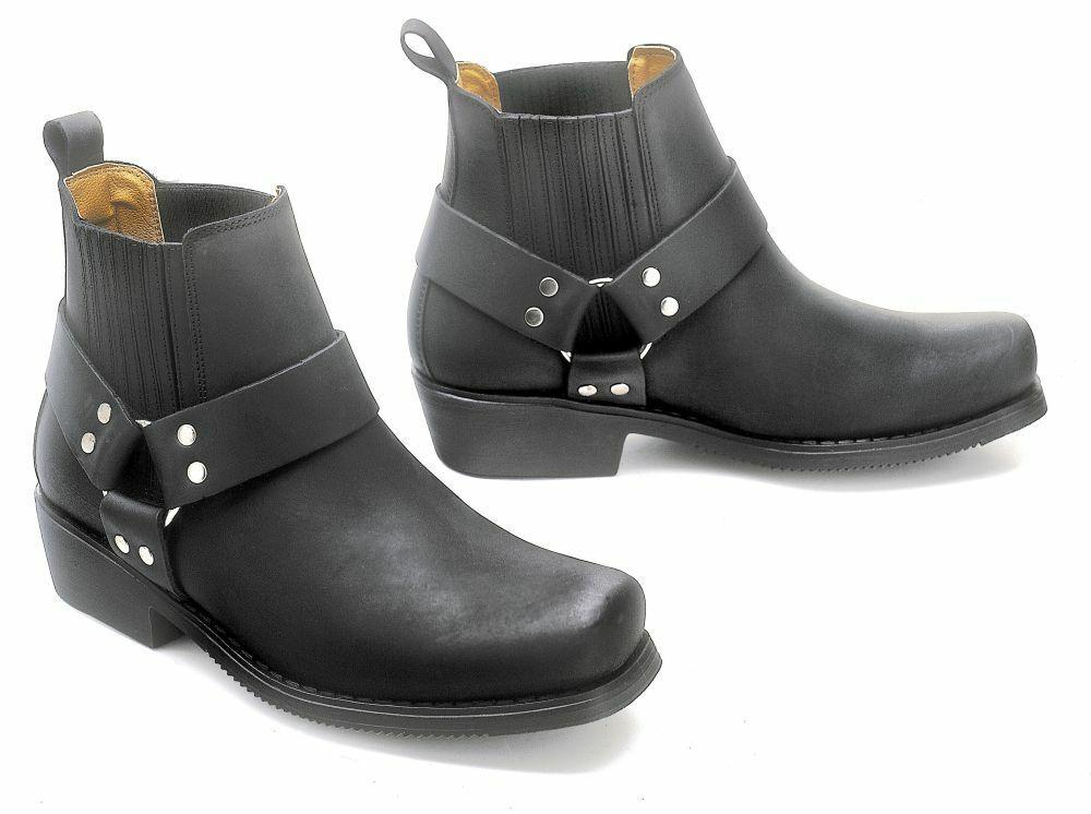 Western Kurzstiefel Boots Cowboy Biker Stiefellette Leder Stiefel black Gr. 46