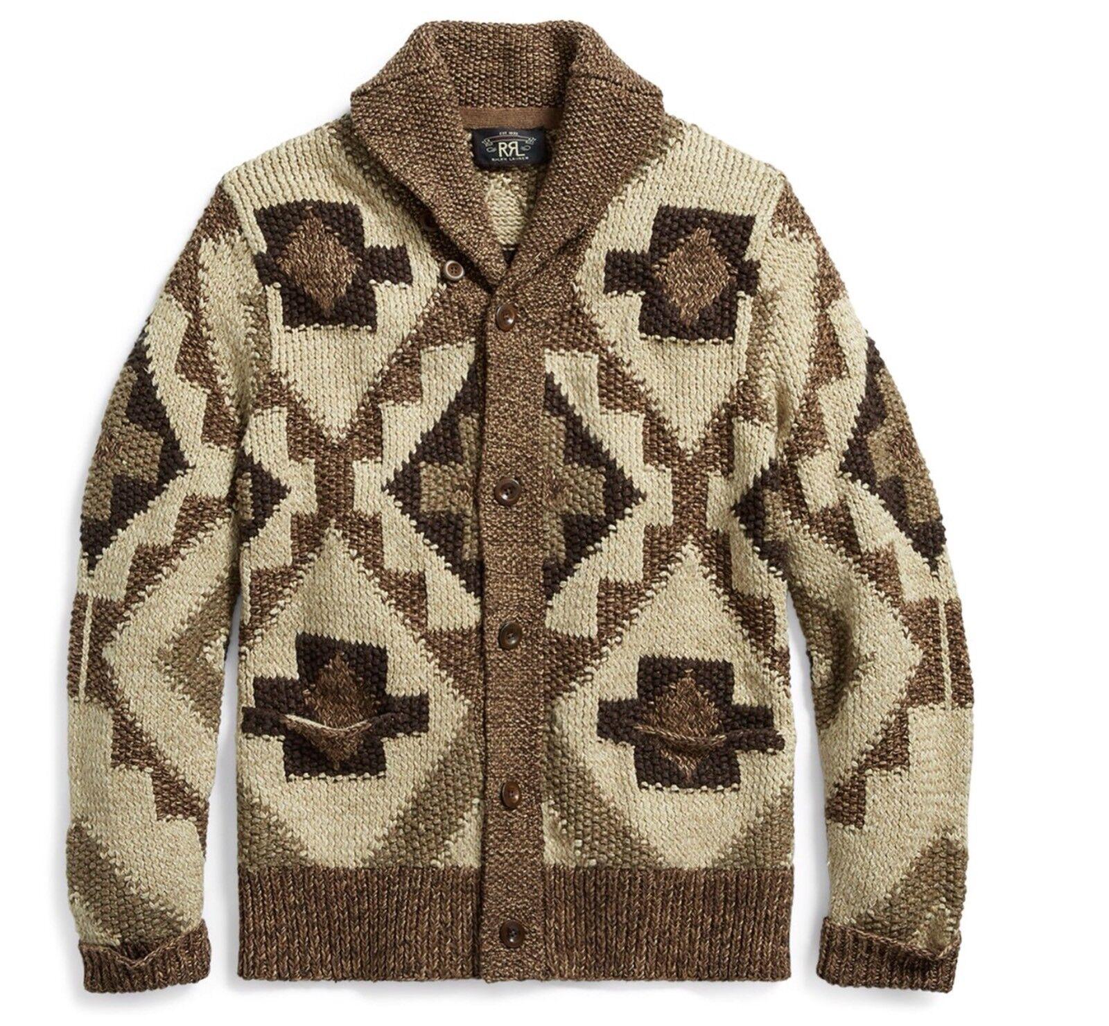 RRL Ralph Lauren Vintage Inspired Hand Knit Cotton Linen Blend Cardigan-L