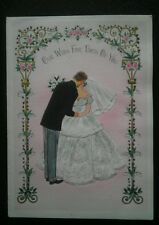 Vtg WEDDING Wish BRIDE & GROOM Beautiful DRESS Pink Greeting CARD Gold Accents