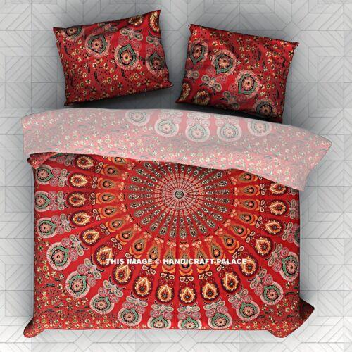 Queen Size Peacock Mandala Cotton Duvet Cover Full Set Ethnic Indian Handmade